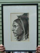 Original Native American Salish Kootenai Indian Charcoal Drawing by E.B Riebe MT
