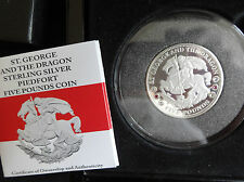 2014 Silver Proof PIEFORT TDC £ 5 COIN BOX + COA St. George & Dragon Rare 1/234