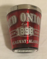 Red Onion 1898 Skaguay Alaska Souvenir Shot Glass Metal With Red Outer Shell
