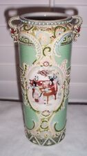 "Antique Vintage Nippon Moriage 9"" Handled Vase w/ Asian Scenes Unmarked"