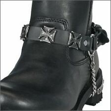 Chaine de botte en cuir Croix de Malte Vets metal Black leather boot moto custom