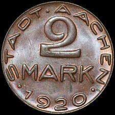 """NOTGELD: 2 Mark 1920 """"Alfred Rethel"""". Funck 1.17b. AACHEN / RHEINPROVINZ."""
