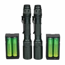 2 Pack Rechargeable Led Flashlight T6 Tactical Torch + 18650 Battery + Charger !