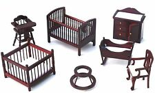 Wooden Mahogany Nursery Doll House Furniture Set