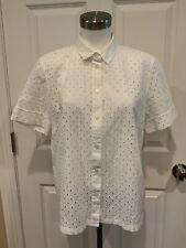 Kate Spade New York White Eyelet Short Sleeve Button Up Shirt, Size 10