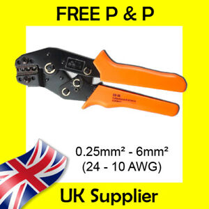 0.25-6mm2 Crimp tool for uninsulated terminals Amp, Tyco, Eyelets, Spade, Fork