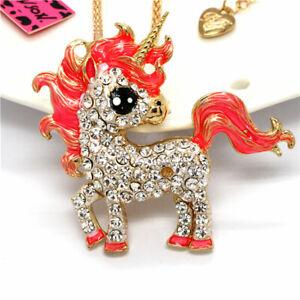 Orange Enamel Rhinestone Cute Unicorn Pony Betsey Johnson Sweater Chain Necklace