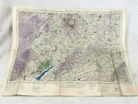 1940 WW2 Militare Mappa Di Il Midlands Birmingham Gloucester Raf Aeronautico