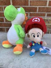 (2) Super Mario Plush- Green Yoshi & Baby Mario