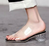 Womens Transparent Med Block Heels Sandals Slippers Strappy Open Toe Shoes 2019