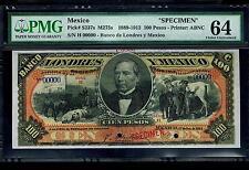 "Mexico RARE $100 Pesos""SPECIMEN""Banco De Londres Y Mexico 1889-1913 PMG 64"