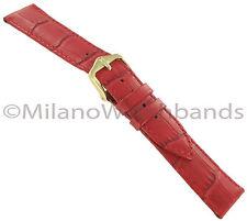 20mm Hirsch Duke Alligator Grain Matte Red Genuine Leather Watch Band