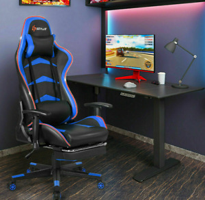 Neuf Massage LED Gaming Chair Reclining Racing Chair w/Lumbar Support & Footrest