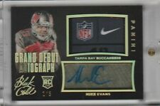 MIKE EVANS RC AUTO LAUNDRY TAG PATCH #1/5 NFL LOGO NIKE 2014 PANINI BLACK GOLD