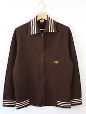 P85 Vtg Adidas Rare 1960s Men Track Jacket Brown Gold Trefoil West Germany D48 S