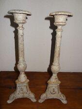 ancienne paire de pique cierges en fonte tripode religion eglise très lourds