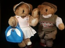 "Vintage couple Teddy Bears Brown 12"" jointed tennis outfit sweater vest shoes"