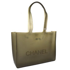 Authentic CHANEL Logos Rubber Shoulder Tote Bag Ceale Gray Vintage SHW V23507