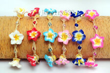 Wholesale Lots 12pcs Cords Flower FIMO polymer clay Silver Plated Bracelets FREE