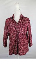 CECIL Damen Bluse Größe M Vintage Look Baumwolle Rot geblümt