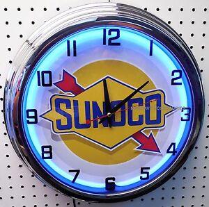 """17"""" SUNOCO Gasoline Sign Blue Neon Clock Gas Station Oil Lube"""