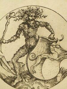 Antique copper engraving 'Heraldic Ornament' after Martin Schongauer 1800's