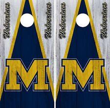 Michigan Wolverines Cornhole Wrap NCAA Game Board Skin Vinyl Decal Set CO795
