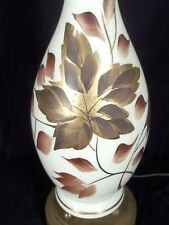 MID CENTURY CLASSICAL MILK GLASS VASE URN LAMP WITH GILT LEAF DECORATION