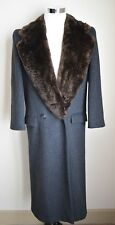 VINTAGE PERRY ELLIS FUR COLLAR WOOL LONG OVER COAT GRAY SIZE 8 UNION MADE IN USA