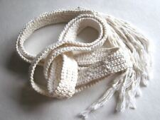 1960's Vintage Handmade Macrame Belt White Cotton Cord with Boullion Knot Fringe