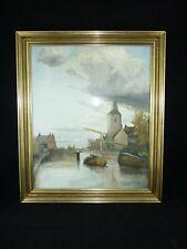 Guache/Aquarell - signiert F. Diepenbeek - Flussansicht mit Windmühle