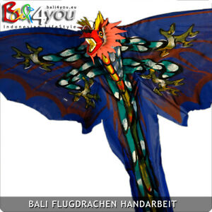 Feuer Drachen - Handbemalter Flugdrachen original Bali Drachen Rot / Blau