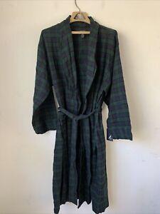 Nautica Mens Bath Robe Sleepwear L/XL Plaid Cotton Flannel Belted Sleep Thin NEW