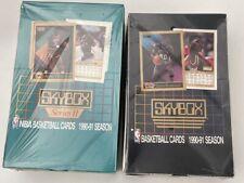 Lot of 2 Skybox 1990-91 Series 1 & 2 Basketball Box Michael Jordan Boxes - CLEAN