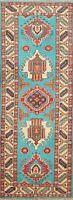 Vegetable Dye Geometric Oriental Super Kazak Runner Rug Wool Hand-Knotted 2x6 ft