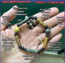 Bracelet 5 Takrud 2 Hypnotic ball Charm Amulet Thai Luck Love Business Wealth