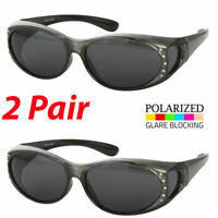 2 Pair POLARIZED Rhinestone cover put over Women Sunglasses Rx glass fit driving