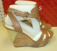 Guess New Womens Medium Brown Leather Wultima 8 M Heels Wedges Shoes