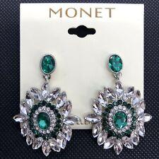 Monet Green Silver Tone Rhinestone Dangle Earrings Bling Art Deco Cluster