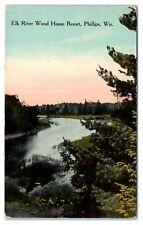 Early 1900s Elk River Wood House Resort, Phillips, WI Postcard