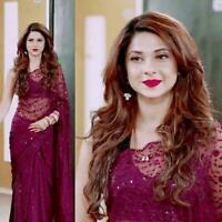 Pakistani Indian Saree Designer Bollywood Net With Sequence Work Sari Blouse DK
