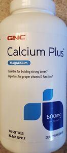 GNC Calcium Plus Magnesium 600mg 180 Softgels ( 90 day supply)