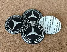4 Aufkleber Embleme für Radkappen Nabendeckel MERCEDES 65mm Schwarz