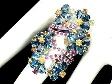 EXQUISITE PEAR 6x4mm LONDON BLUE TOPAZ RUBY SAPPHIRE RING 925SS SZ 9  A1668