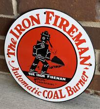 The Iron Fireman Coal Advertising Porcelain Gas Sign