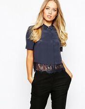 Whistles Betsy Lace Cropped Shirt Silk Blouse UK 8 12 Work Evening 14