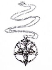 Baphomet Devil Pendant Satan Goat Head Occult Pentagram Necklace Silver Chain
