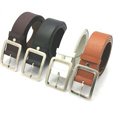 Men Ladies Classic Jeans Belt PU Leather Square Buckle Waistband Waist Strap