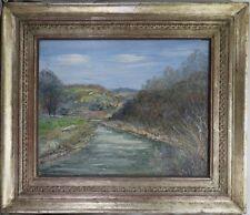 Fey Carl Otto 1894-1971 Gemälde Sieglandschaft / Fluss Landschaft ~ 1930