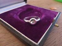 Schöner 925 Silber Ring Saphir Schlicht Designer Filigran Retro Vintage Top